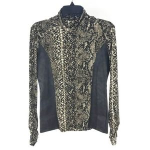 Cache Black Brown Snakeprint Faux Leather Top
